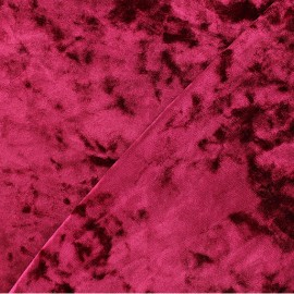 Strucked Elastane velvet fabric - Morello cherry Betty x 10cm