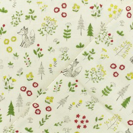 Double Gauze Fabric - ecru Kokka Animal World x 10cm