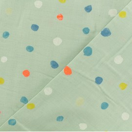 Double Gauze Fabric - mint Kokka Colorful Pocho x 10cm