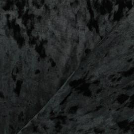 Tissu velours Frappé Élasthanne Betty - Noir x10cm