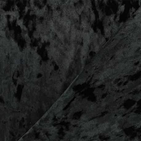 Strucked Elastane velvet fabric - Black Betty x 10cm
