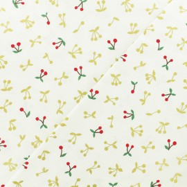 Coton Fabric - ecru Kokka Gold Cherry x 10cm