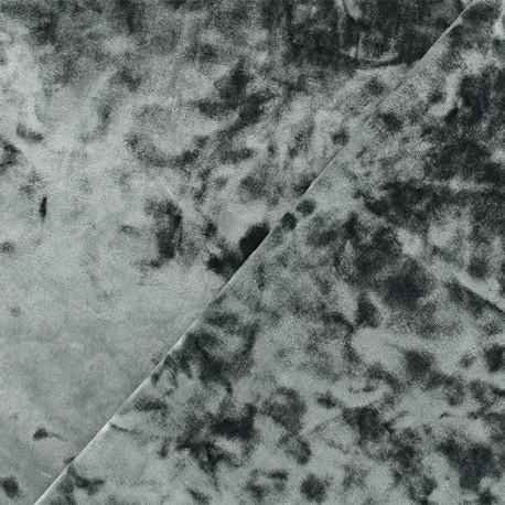 Tissu velours Frappé Élasthanne Betty - gris orage x10cm