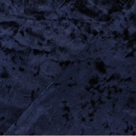 Elastane Crushed velvet fabric - Dark blue Betty x 10cm