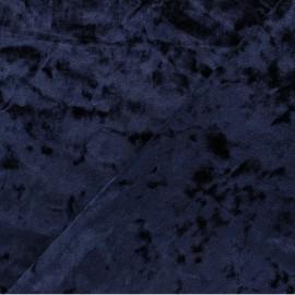 Tissu velours Frappé Élasthanne Betty - Bleu foncé x10cm