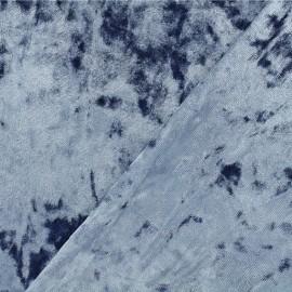 Strucked Elastane velvet fabric - blue swell Betty x 10cm