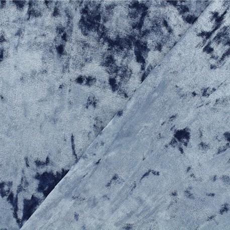 Tissu velours Frappé Élasthanne Betty - Bleu houle x10cm