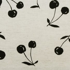 Coated Cotton Fabric - natural Kokka Cherry x 10 cm