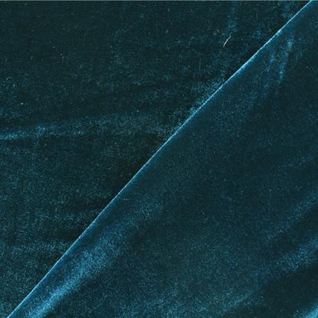 Tissu velours ras jersey Gina - Paon x10cm