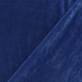 Tissu velours ras jersey Gina - Bleu Houle x10cm