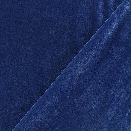 Short jersey velvet fabric - blue swell Gina x10cm