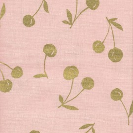 Coated Cotton Fabric - pink Kokka Cherry x 10 cm