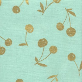 Coated Cotton Fabric - mint Kokka Cherry x 10 cm
