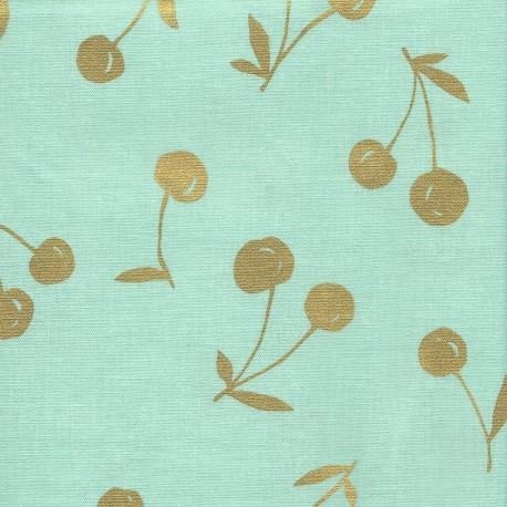 Tissu coton enduit Kokka Cerise - vert d'eau x 10 cm