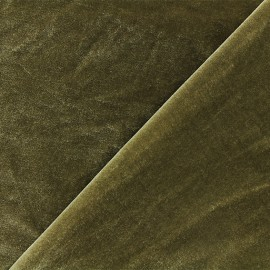 Short jersey velvet fabric - green-brown Gina x10cm