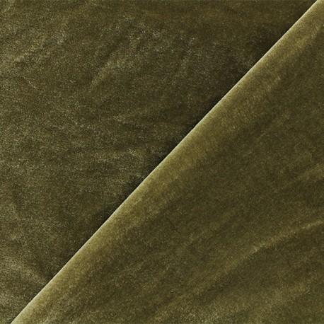 Short jersey velvet fabric - green-brown Gina x10cm
