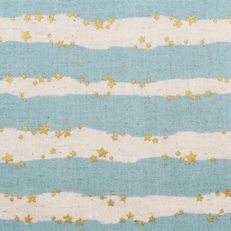 Coated Cotton Fabric - sky blue Kokka Starred Stripe x 10 cm