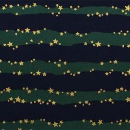 Tissu coton enduit Kokka Rayure étoilée - marine/vert x 10 cm