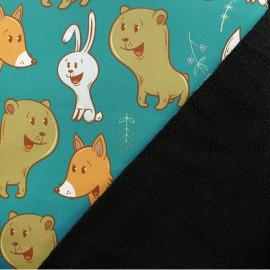Tissu Softshell Renard & cie - vert x 10cm