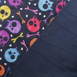 Softshell fabric – Dark blue Pop skulls x 10cm