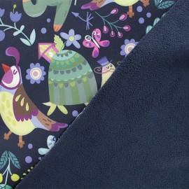Tissu Softshell Monsieur Renard - bleu marine x 10cm