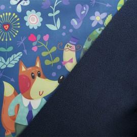 Tissu Softshell Monsieur Renard - bleu x 10cm