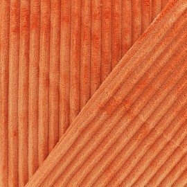Doubled-Sided Minky Ribbed Velvet Fabric - orange x 10cm