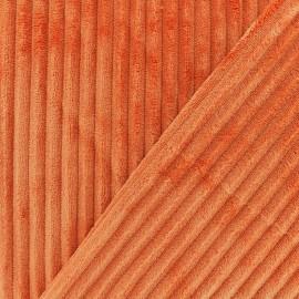 Tissu velours minkee côtelé recto/verso - brique x 10cm