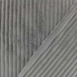 Tissu velours minkee côtelé recto/verso - gris souris x 10cm