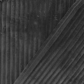 Tissu velours minkee côtelé recto/verso - anthracite x 10cm