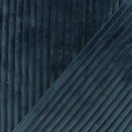 Tissu velours minkee côtelé recto/verso - bleu marine x 10cm