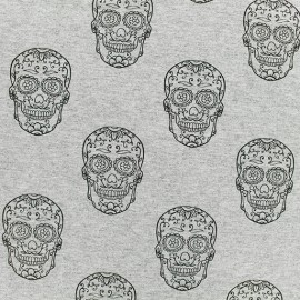 Tissu sweat léger Tête de mort - Gris x 10cm