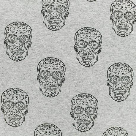 Light sweatshirt fabric - Light grey Skulls  x 10 cm