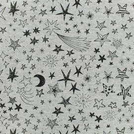 Tissu sweat léger Etincelles - Gris x 10cm