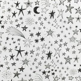 Tissu sweat léger Etincelles - Blanc x 10cm