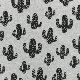 Light sweat fabric - Grey cactus x 10 cm