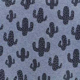 Light sweatshirt fabric - Blue cactus x 10 cm