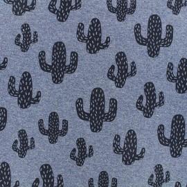 Tissu sweat léger Cactus - bleu x 10cm