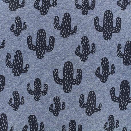 Light sweat fabric - Blue cactus x 10 cm