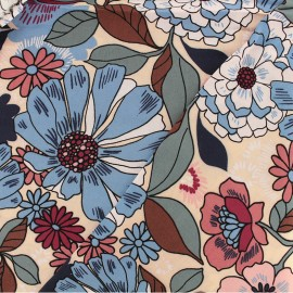 Tissu Viscose Île aux fleurs - nude x 10cm