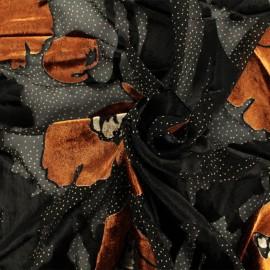 Tissu Velours sur Viscose Floraison d'Automne - noir x 10cm