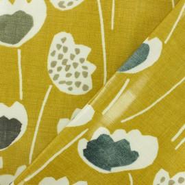 Tissu coton enduit Clara Safran - jaune x 10cm