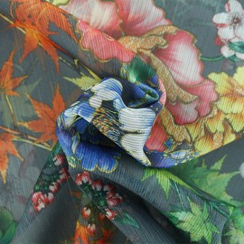 Muslin Fabric - Grey Autumn in japan x 50cm