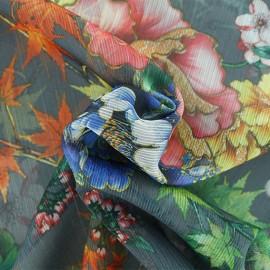 Tissu mousseline Automne au Japon - gris x 50cm