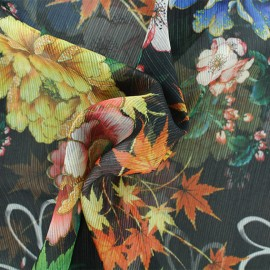 Muslin Fabric - Black Autumn in japan x 50cm