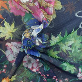 Muslin Fabric - Dark blue Autumn in japan x 50cm