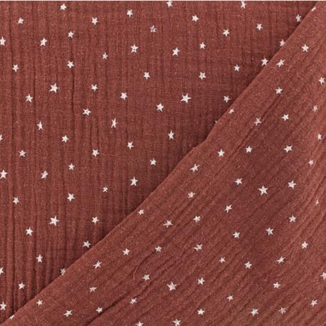 Tissu double gaze de coton étoile - tomette x 10cm