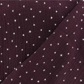 Tissu double gaze de coton étoile - aubergine x 10cm