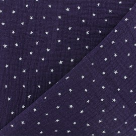 Double cotton gauze fabric - purple Star x 10cm
