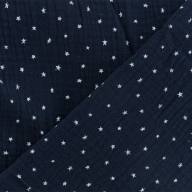 Double cotton gauze fabric - night blue Star x 10cm